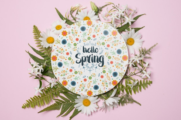 Round paper template with flowers for spring Free Psd