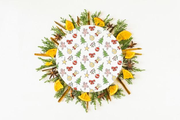 Round paper with flowers around Free Psd