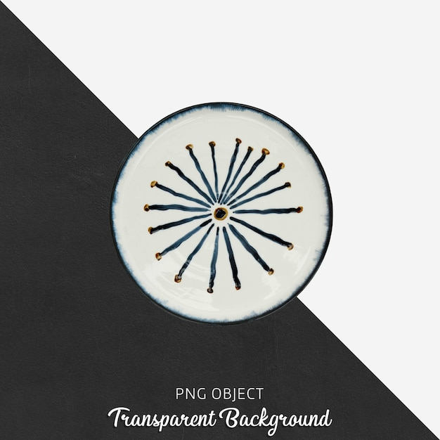 Round patterned serving plate on transparent background Premium Psd