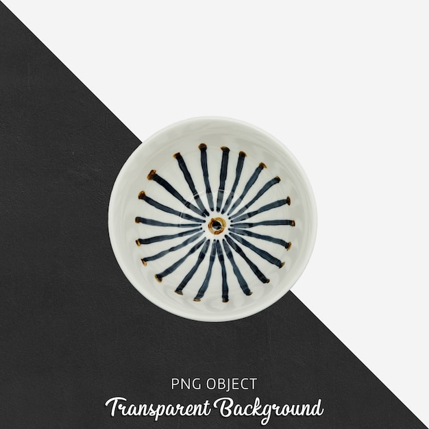 Round patterned soup plate top view on transparent background Premium Psd