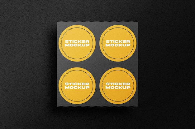 Макет набора круглых наклеек Premium Psd