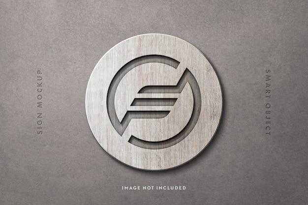 Round wooden sign mockup Premium Psd