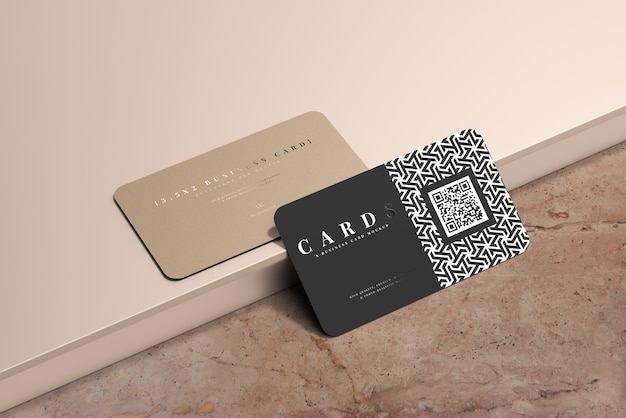 Rounded corner business cards mockup Free Psd