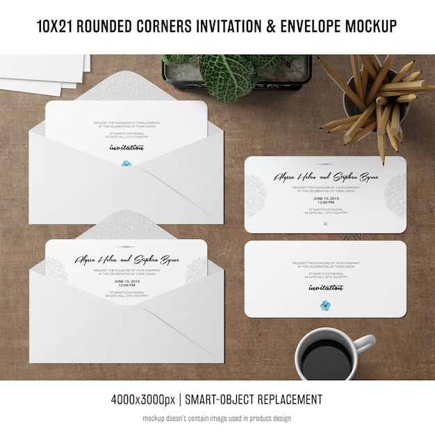 Rounded corners invitation and envelope mockup Free Psd