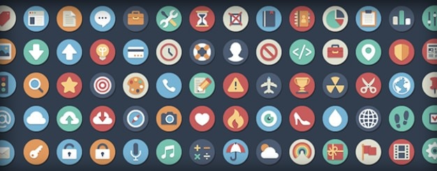 Скачать Eco Technology Flat Icons: Rounded Flat Icons In Two Versions PSD File