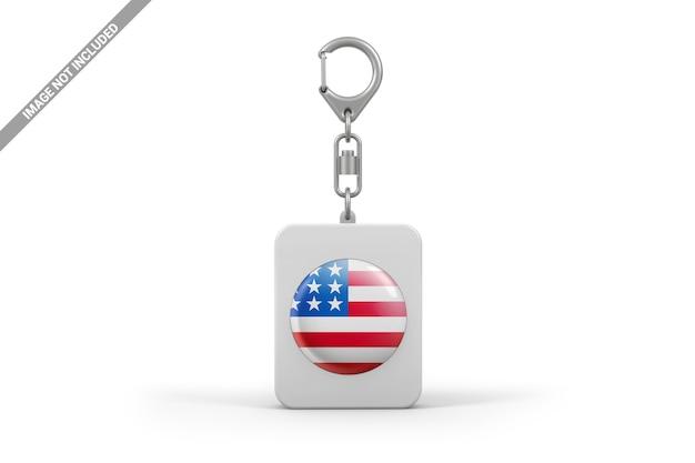 Rounded rectangular keychain mockup Premium Psd