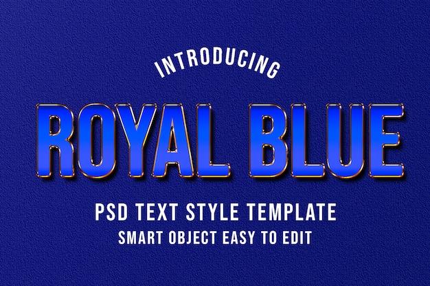 Royal blue psd text style template mockup - luxury elegant text effect photoshop style Premium Psd