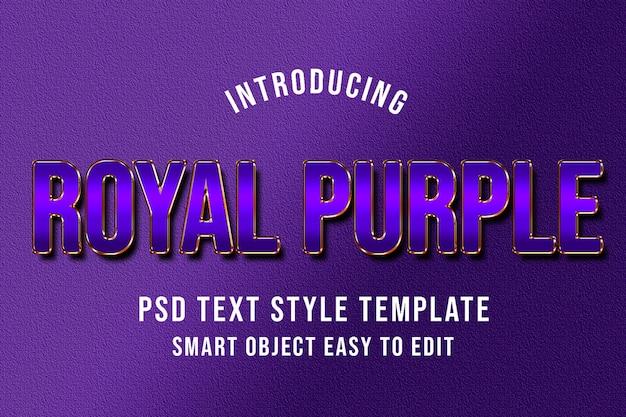 Royal purple psd text style template mockup Premium Psd