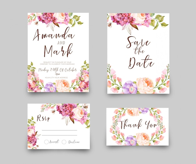 結婚式招待状のrsvpカード水彩風 Premium Psd