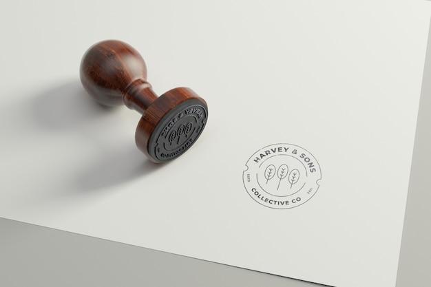 Rubber stamp logo mockup. round version Premium Psd