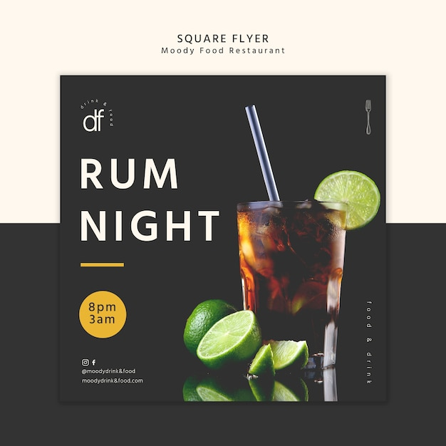 Rum night at the restaurant square flyer Free Psd
