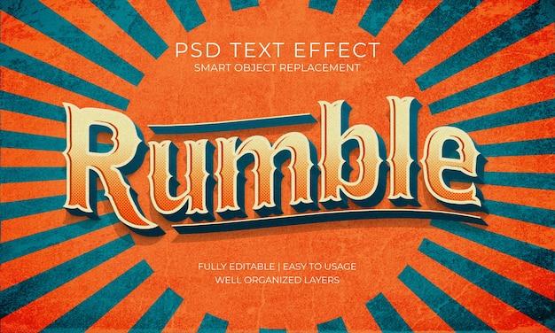 럼블 레트로 텍스트 효과 프리미엄 PSD 파일