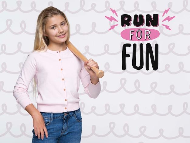 Run for fun cute young girl Free Psd
