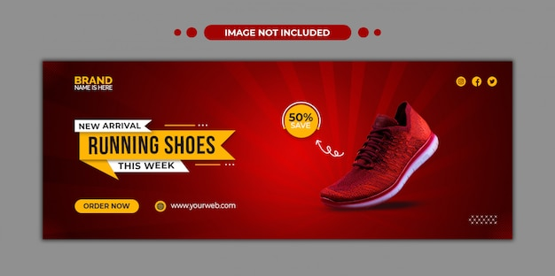 Running shoes facebook timeline cover and web template Premium Psd