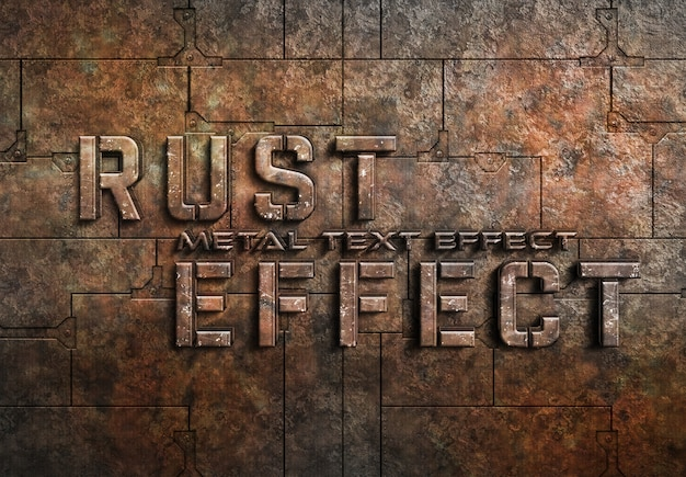 Rusted metal text effect Premium Psd