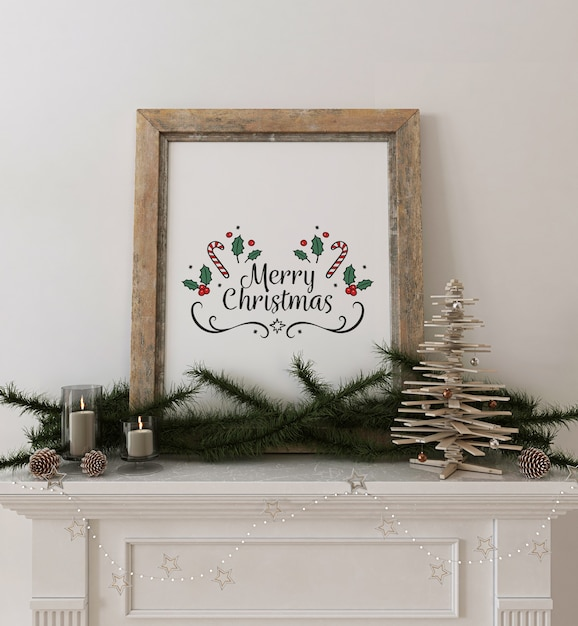 Rustic frame poster mockup with wooden christmas tree and decoration Premium Psd