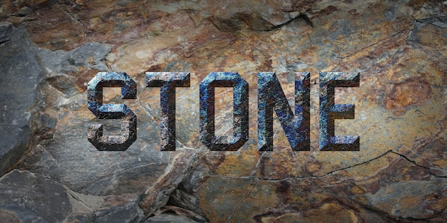 Rustic grunge  stone text style effect Premium Psd