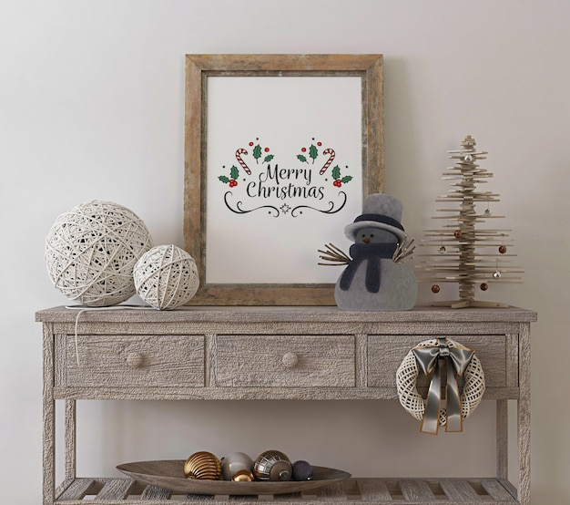 Rustic poster frame mockup in vintage interior with christmas tree and decoration Premium Psd