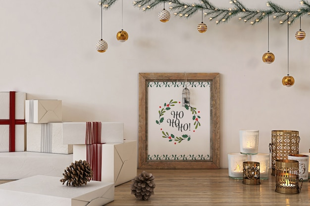 Rustic poster frame mockup with christmas  decoration and presents Premium Psd