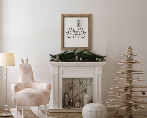 Rustic poster frame mockup with wooden christmas  tree, decoration and presents Premium Psd