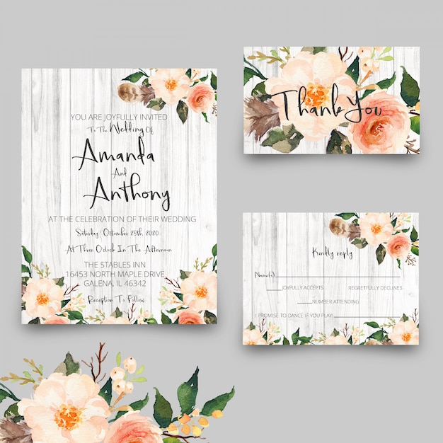 Rustic wedding invitation cards and rsvp thank you card Premium Psd