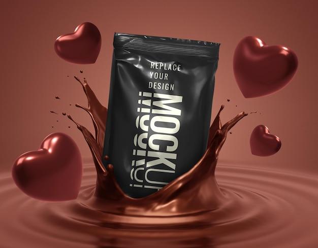 ハート型のチョコレート菓子の小袋モックアップ Premium Psd