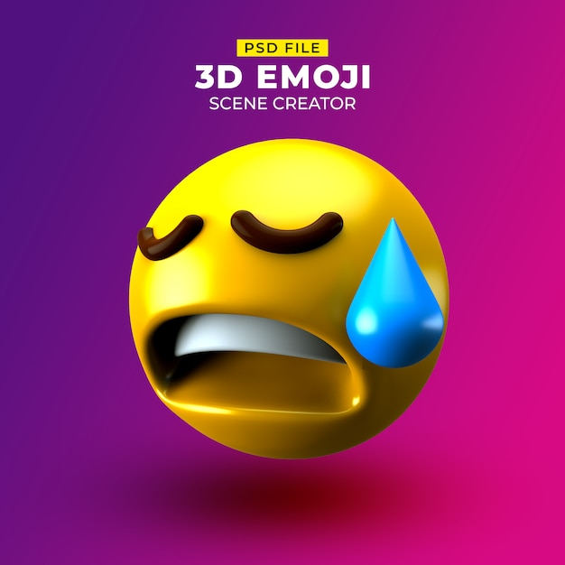 Sad 3d emoji with disappointed but relieved face Premium Psd