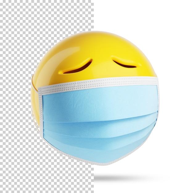 Грустный смайлик с медицинской маской, 3d Premium Psd