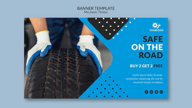 Safe on the road auto shop banner template Free Psd