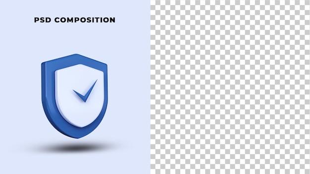 Безопасность безопасности логотип 3d-рендеринга изолированные Premium Psd