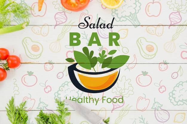 Salad bar menu with fresh vegetables Premium Psd