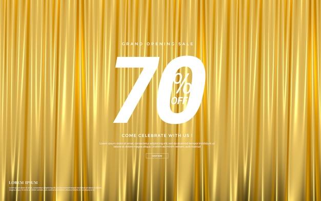 Продаётся баннер с роскошными золотыми шелковыми бархатными шторами. Premium Psd