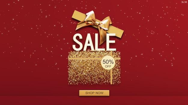Продажа шрифта с золотой коробкой на красном Premium Psd
