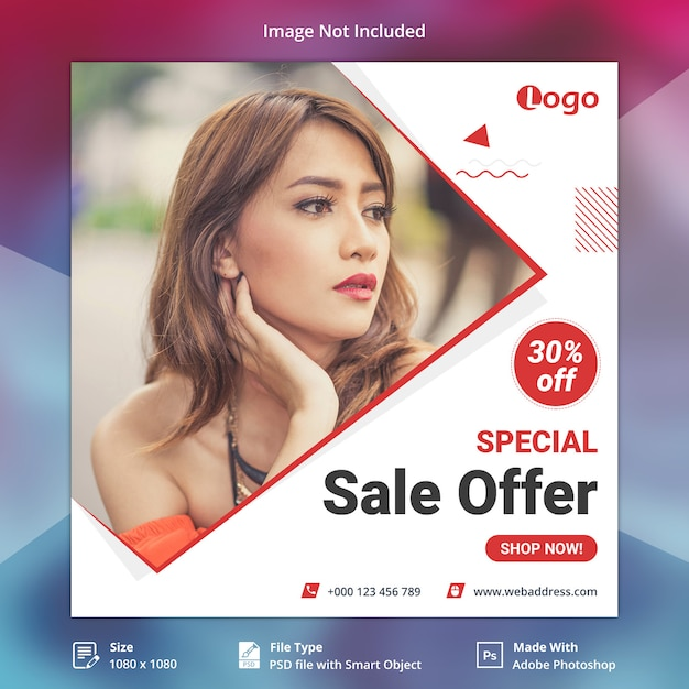 Sale offer instagram post or square banner template Premium Psd