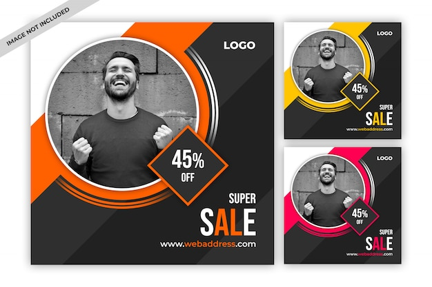 Sale social media post template set Premium Psd