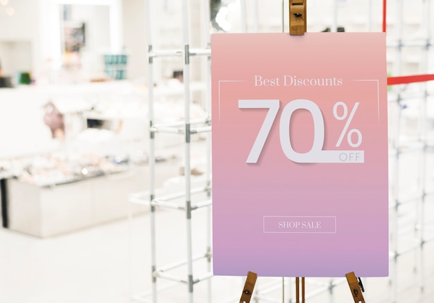 Sale up to 70% off poster mockup Free Psd