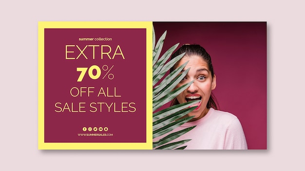 Sales banner template with image Free Psd