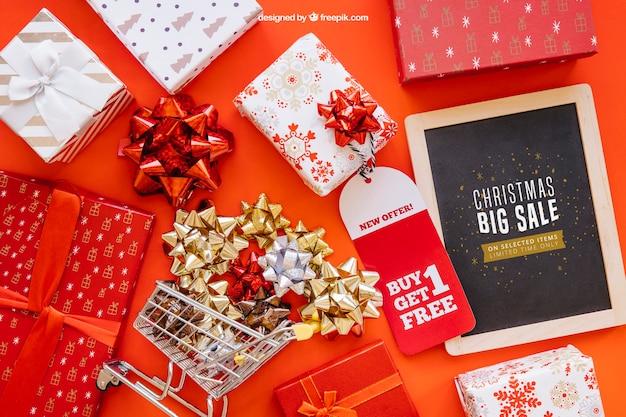 Sales mockup with christmtas design Free Psd