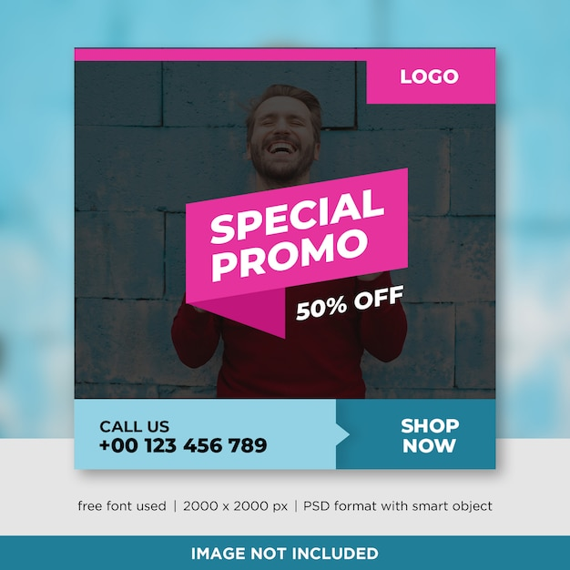 Sales square banner with image Premium Psd