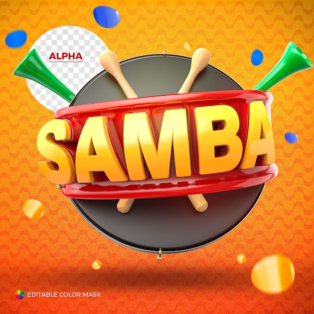 Логотип samba для композиции, изолированной деревянными палочками и вувузелой Premium Psd