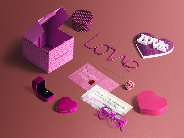 San valentin special elements set Free Psd
