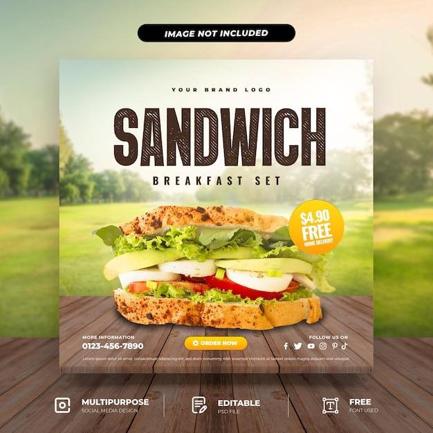 Sandwich breakfast set social media template Premium Psd