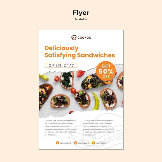 サンドイッチコンセプトチラシテンプレート 無料 Psd