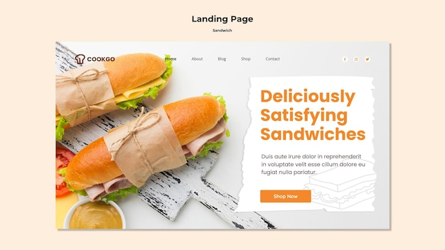 Sandwich concept landing page template Free Psd