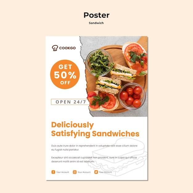 サンドイッチコンセプトポスターテンプレート 無料 Psd