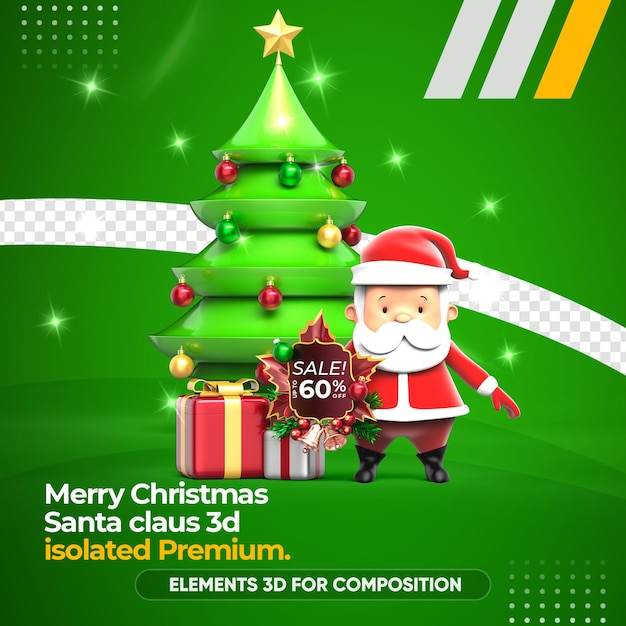 Santa claus 3d and christmas tree rendering Premium Psd