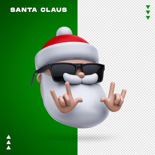 Санта-клаус солнцезащитные очки 3d рендеринга изолированные Premium Psd