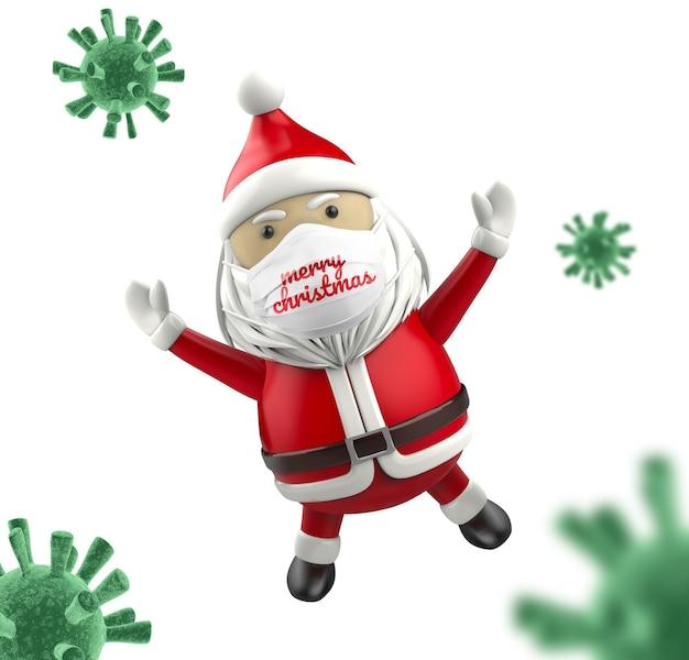 Дед мороз с макетом маски для лица Premium Psd
