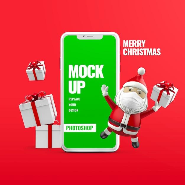 Подарочная коробка санта-клауса с рождеством христовым рекламный макет телефона Premium Psd