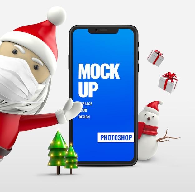 Санта-клаус со снеговиком и смартфон Premium Psd
